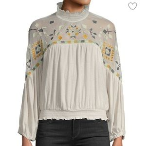 VINTAGE Free People Embroidered Mesh Cotton Top